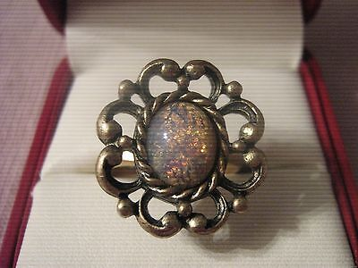 """Vintage Sarah Coventry ~ Faux Opal Ring ~ """"Contessa"""" ~ 1974"""
