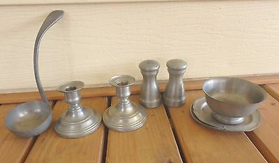 "Lot of 8 Pieces of Old Pewter/""International Silver"" Candles/more"