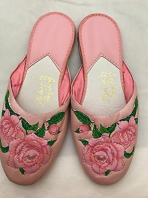 New Vintage Oriential Chinese Women's Pink Floral Indoor Slippers