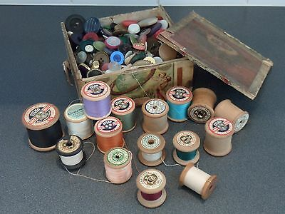 Box of Vintage Buttons and Vintage Cotton Reels