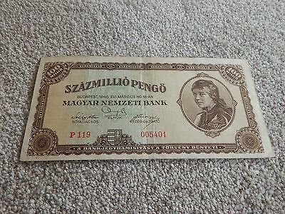 Budapest, 100 millio banknote, used condition