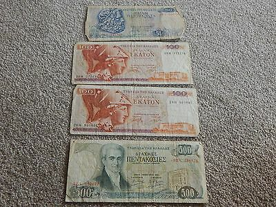 Greece, 50, 100x2, 500 Drachmai banknotes, used condition