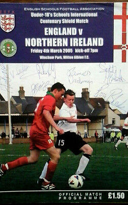 England V N Ireland 4/3/2005 Under 18 Int @witton Fully Autographed By N Ireland