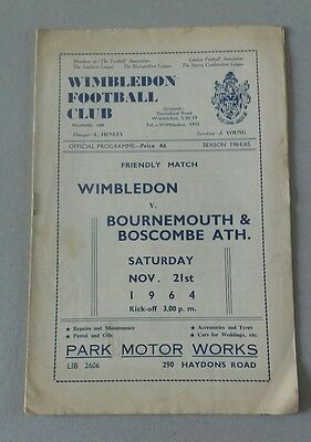 1964 Wimbledon v Bournemouth Friendly