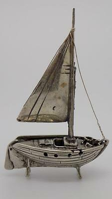 Vintage Solid Silver Sailing Ship Miniature - Dollhouse - Stamped - Italian Made