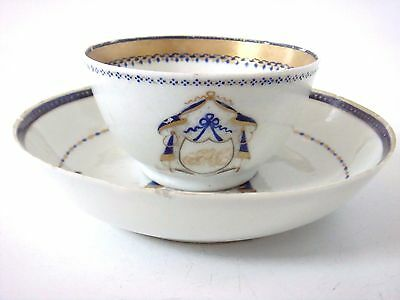 Chinese Export Porcelain Nice Monogrammed - Initialled Tea Bowl & Saucer C1750