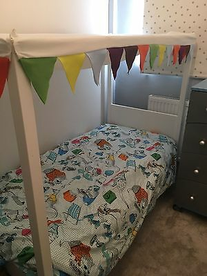 Ikea four poster white toddler bed with canopy