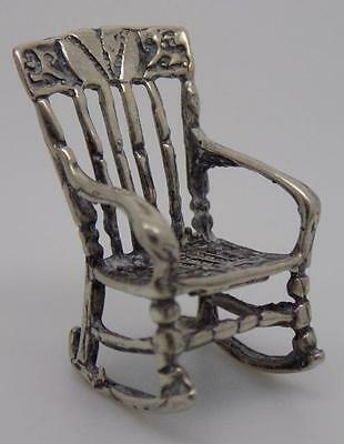 Vintage Solid Silver Rocking Chair Miniature - Stamped - Italian - Dollhouse
