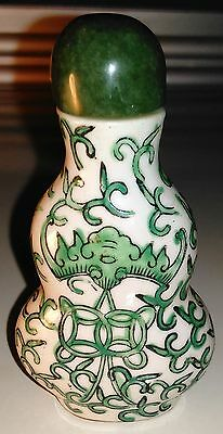 Antique White Porcelain with Green & Black Enamel Chinese Snuff Bottle - RARE