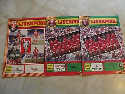 LIVERPOOL EUROPEAN HOME PROGRAMMES MIXED SEASONS x THREE LISTED