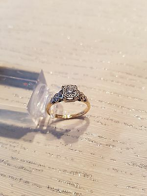 Ring 18 Ct Gold Platinum and Diamond Size O