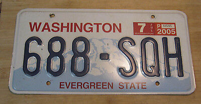 2005 Washington License Plate Expired 688 Sqh