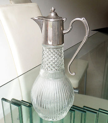 Vintage Silver Plate/clear Ribbed Glass Claret Jug-English  **