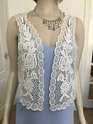 Cream 100% Cotton Lace Effect Waistcoat From Atmosphere Size S.