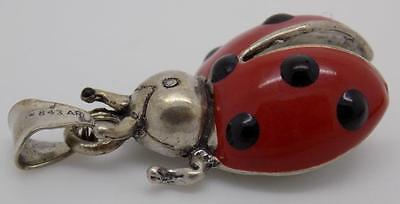 Vintage Solid Silver Large Ladybug/Ladybird Pendant - Stamped - Made in Italy