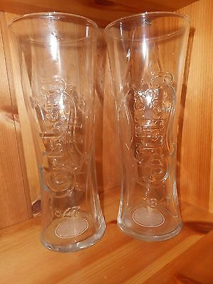 2 x Carlsberg Embossed and Nucleated Pint Glasses