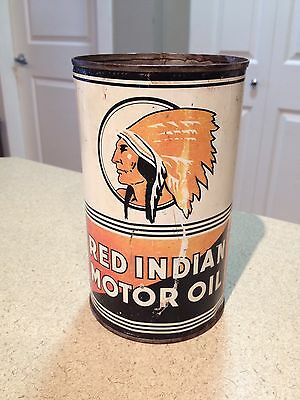 Red Indian Quart Oil Can Collectible Vintage McColl Frontenac