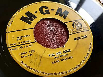 """Hank Williams - YOU WIN AGAIN / SO LONESOME - MGM 1309 - NORWAY 7"""" Single ⭐️⭐️⭐️"""