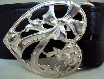 Solid Sterling Silver Heart and Lovers Knot Belt Buckle