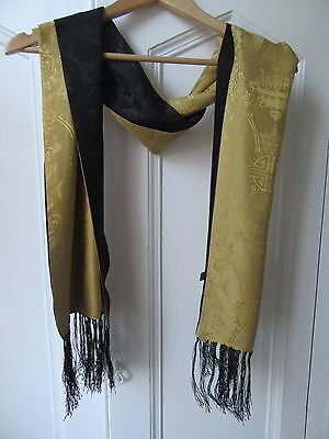 Vintage Black And Gold Chinese Silk Scarf