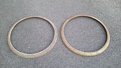 Two Old Antique Koken ornamental  barber chair base ring parts (very nice) LOOK