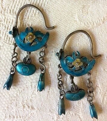 Antique Enamel Chinese Dangle Earrings Age Unknown