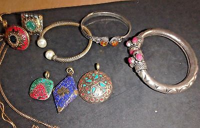 Big Lot of Bali and East Indian Bracelets, Rings, Chains