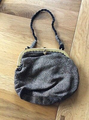Vintage Antique Metallic Evening Bag Black & Gold