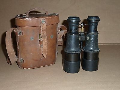Ww1 Military Naval Binoculars With 1918 Name Stamped Leather Case & Arrow Mark