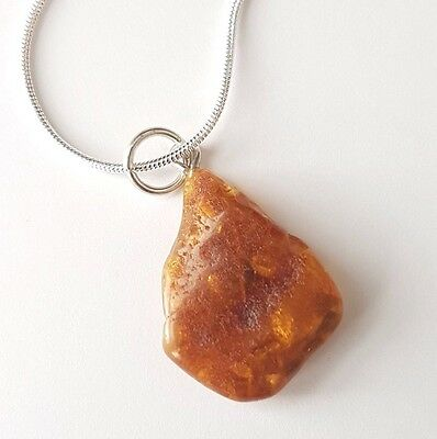 Genuine Raw Baltic Amber Pendant With Sterling Silver Chain 925