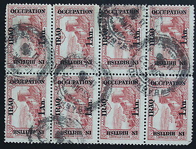 Iraq British Occupation Block of 8 Used Stamps #a137