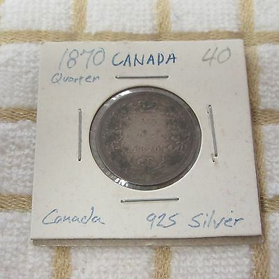 1870 Canada Silver 25 Cents Coin
