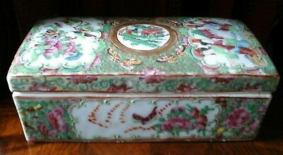 Stunning Antique Chinese Canton Famille Rose China  Box Hand Painted