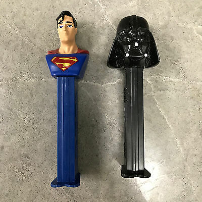 2 Empty PEZ Dispensers Superman and Darth Vader For Collectors Hero Star Wars