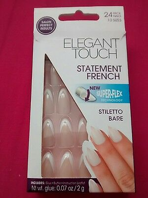 Elegant Touch Statement French Superflex False Nails in Stiletto Pink (24 Pack)