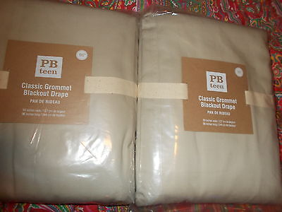 "2 Pottery Barn Classic Grommet Blackout Drapes, 96"", Stone,teen,kids,adult, New"