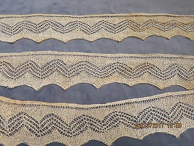 """Edwardian   Beige Fine  Delicate Threads  Lace  Silk? Pointed Edge  65"""" Long A11"""