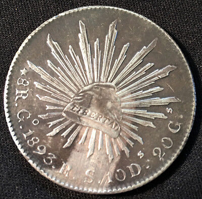 1893 8 Reales Mexico Siver Coin, G/o Mint