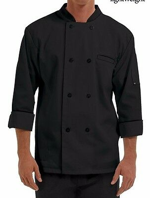 Mens Double Breasted 3/4 Sleeve Chef Coat Plastic Buttons  Black Large L New