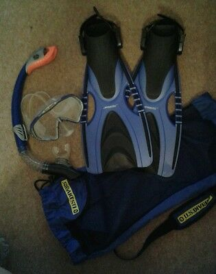 Snorkel, mask and flippers (size 5-8)