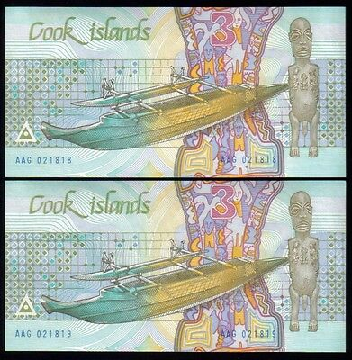 (CK-602) Cook Island Pick 3, A consecutive UNC Pair, $3, Ina and the Shark