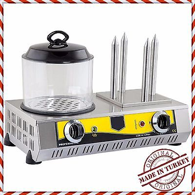Commercial European-Style Hot Dog Steamer Cooker Hotdog Machine and 4 Bun Warmer
