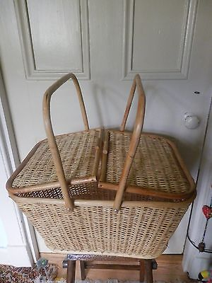 Wicker Picnic Basket with Double Lid and Handles