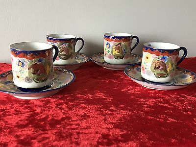 Beautiful Japanese Hand Painted Eggshell Porcelain Coffee Set