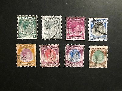Singapore 1948 perf 14. definitives part set fine used.