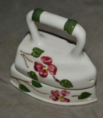 vintage mid century hand iron and base salt and pepper shakers ceramic figural