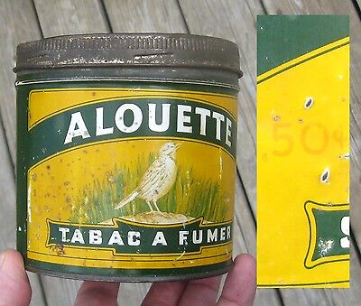 VINTAGE 1945's 0.50¢ ALOUETTE B. HOUDE TOBACCO TIN IN QUEBEC