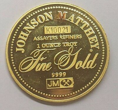 Johnson Matthey 1 Ounce Troy 9999 Fine Pure Gold Round - K10021 - RARE - SAF501