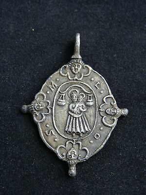 Byzantine Ancient Artifact Silver RELIGIOUS MEDALLION 11-12 Century