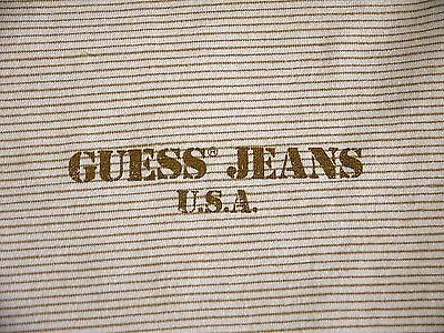 VINTAGE 90s GUESS JEANS USA striped long sleeve t shirt mens M spellout made in